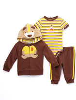 Buster Brown Brown & Yellow Dog Hoodie Set - Infant