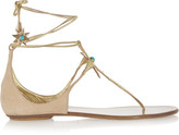 Aquazzura + Poppy Delevingne Midnight Metallic Leather And Suede Sandals - Gold