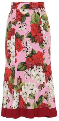 Dolce & Gabbana Floral stretch-silk midi skirt
