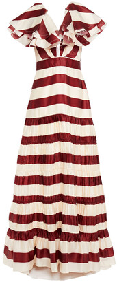 Johanna Ortiz Sangria Ruffled Striped Silk Maxi Dress