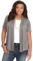 ING Trendy Plus Size Short-Sleeve Open-Front Cardigan