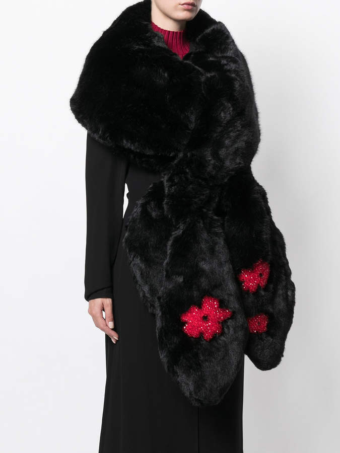 Simone Rocha floral embroidered scarf