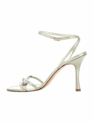 Manolo Blahnik Leather Crystal Embellishments Sandals Gold