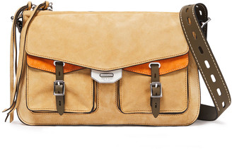 Rag & Bone Field Leather-trimmed Two-tone Suede Shoulder Bag
