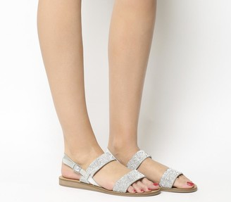 Office Sherbert Embellished Two Strap Sandals Silver