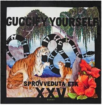 """Gucci multicoloured """"Guccify Yourself"""" print silk scarf"""