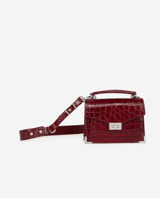 The Kooples Mini Emily burgundy crocodile-print bag