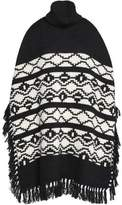 Maje Fringed Intarsia-Knit Turtleneck Poncho