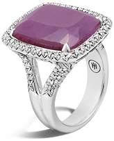 John Hardy Sterling Silver Classic Chain Magic Cut Indian Ruby Ring with Diamonds