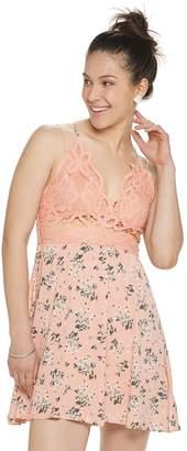 Almost Famous Juniors' Crocheted Bralet Ruffled Hem Dress