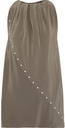 Rick Owens Babel Wino Gathered Studded Silk Crepe De Chine Top