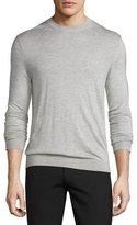 Theory Riland Silk-Cashmere Crewneck Sweater, Foam Heather