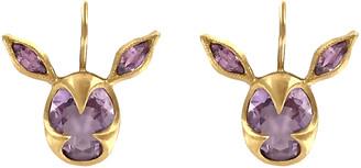 Cathy Waterman Amethyst and Pink Sapphire Deer Earrings - Yellow Gold