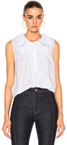 Chloé Crushed Cotton Popeline Sleeveless Top in White.