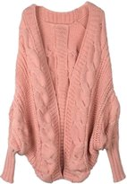 Acefast INC Women's Loose Knitted Cardigan Plus Size Batwing Sleeve Sweater Outwear Tops