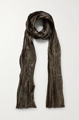 Saint Laurent Metallic Plisse Silk-blend Scarf - Gold