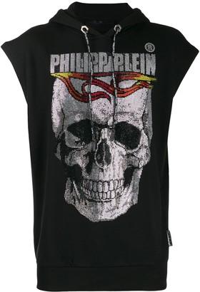Philipp Plein Crystal Skull Sleeveless Hoodie