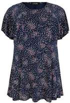Yours Clothing Womens Ditsy Floral Peplum Top With Frill Angel Sleeves Plus Size 16 To 36