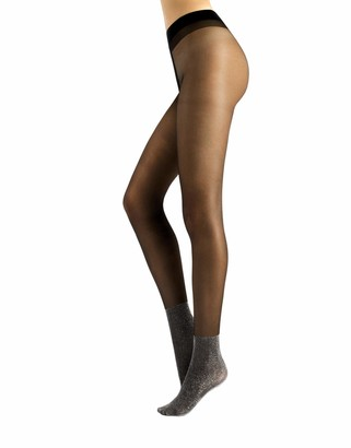 CALZITALY Sheer Tights with Silver Lurex Foot Area | Black | S/M L/XL | 20 DEN | Made in Italy (L/XL