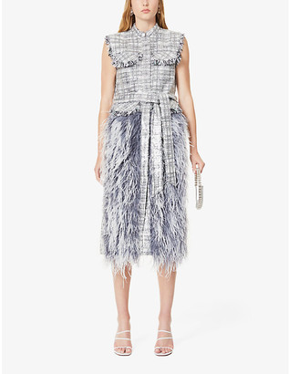 Huishan Zhang Wyatt tartan-print feather and sequin-embellished midi dress