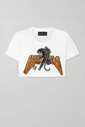 Dundas Cropped Beaded Appliqued Linen T-shirt - White