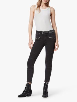 AllSaints Biker High Rise Skinny Jeans, Soft Black