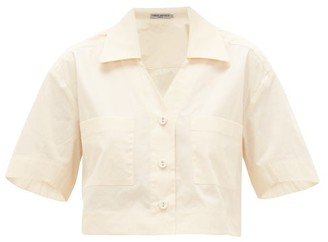 Three Graces London Lily Cropped Cotton-poplin Shirt - Womens - Cream