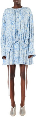 Tibi Toile Print Gathered Shirtdress