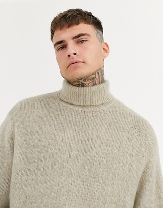 ASOS DESIGN fluffy textured knit roll neck sweater in oatmeal