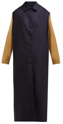 Colville - Single-breasted Bi-colour Wool Coat - Navy Multi