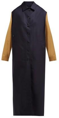 Colville - Single-breasted Bi-colour Wool Coat - Womens - Navy Multi