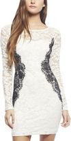 Arden B Contrast Lace Long-Sleeve Dress