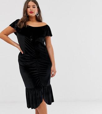 ELVI ruched velvet dress