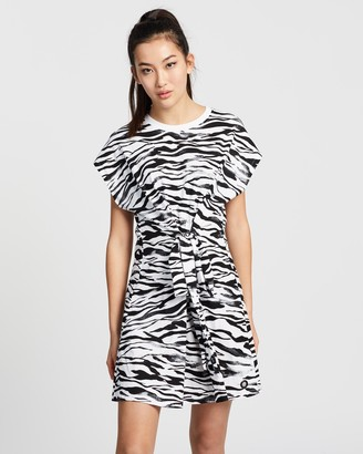DKNY Zebra Printed T-Shirt Dress with Shirred Waist Detail