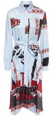 Cédric Charlier Printed Satin-twill Midi Shirt Dress