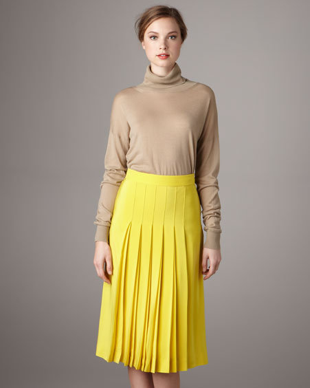 Chloé Pleated Silk Crepe Skirt