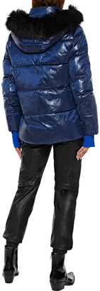 DKNY Faux Fur-trimmed Quilted Glossed-shell Hooded Jacket