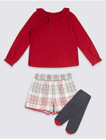 Marks and Spencer 3 Piece Top & Shorts with Tights (3 Months - 6 Years)
