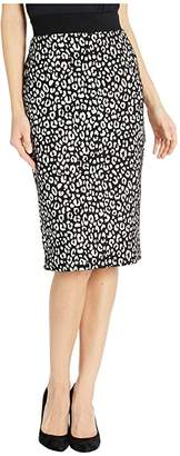 MICHAEL Michael Kors Animal Jacquard Pencil Skirt (Black/Bone) Women's Skirt