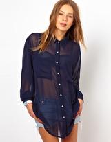 American Apparel Chiffon Oversized Button Up Blouse