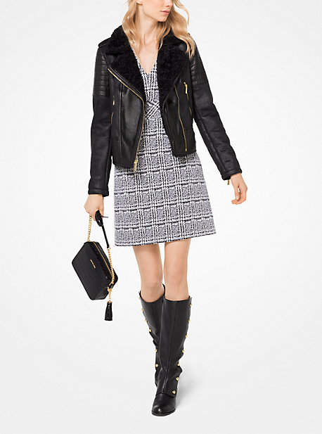 Michael Kors Faux-Shearling And Leather Moto Jacket