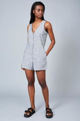 NATIVE YOUTH The Lauryn Romper Grey White Stripe - S