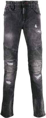 Philipp Plein Biker Destroyed motox denim jeans