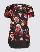 Per Una Floral Print Round Neck Short Sleeve T-Shirt