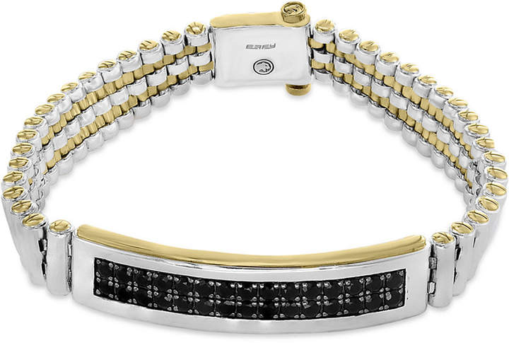 Effy Men's Black Sapphire Bracelet (4-1/5 ct. t.w.) in Sterling Silver and 18k Gold-Plate