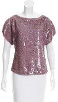 Alice + Olivia Sequin-Embellished Short Sleeve Top