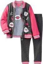 Betsey Johnson French Terry Varsity Jacket, Tee, & Jacket Set (Toddler Girls)