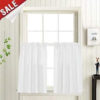"""Waffle Woven Textured Short Curtains for Bathroom Water Repellent Window Covering for Kitchen (72"""" x 36"""""""