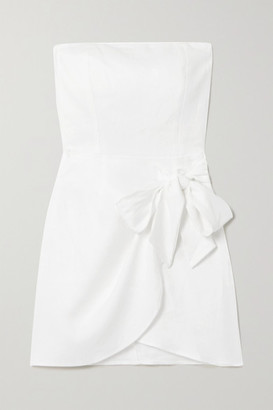 Reformation Turnip Strapless Wrap-effect Linen Mini Dress - White