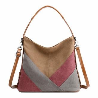 Nugjhjt Women's Canvas Commuter Bag Durable Messenger Bag Shoulder Bag Handbag Mommy Bag(Size:35 * 14 * 30cm